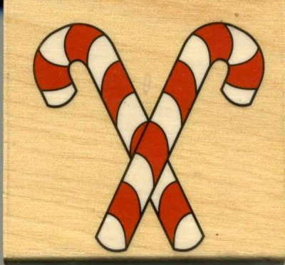 Wood Mounted Rubber Stamp - Candy Canes