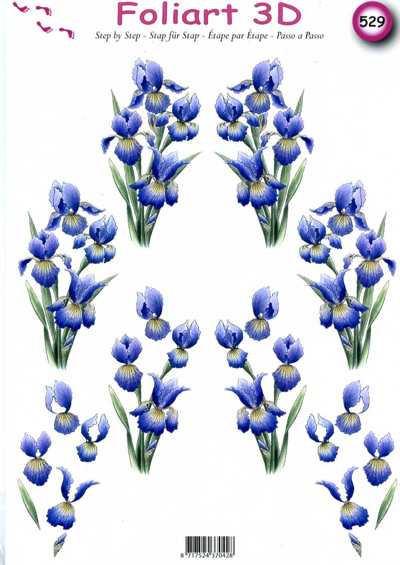 A4 Decoupage Sheet - Irises